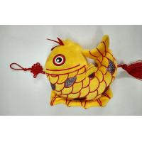 Quality Flocking Cloth The Auspicious Yellow Carp with Chinese Knot Custom Promotional Toys wholesale
