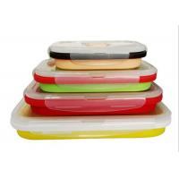 Quality Four Unity Silicone Folding Students Microwave Lunch Box Food Grade FDA Silicone + PP wholesale