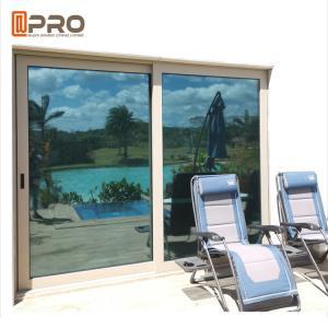 China Balcony Sliding Glass Patio Doors Hurricane Proof Impact Aluminum Metal Frame double sliding glass door on sale