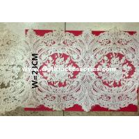 China 23cm Floral Applique Heavy Embroidered Lace Fabric Eco - Friendly Dyeing on sale