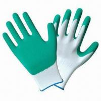 Quality Polyester/nylon shell latex foam gloves with green latex palm coating wholesale