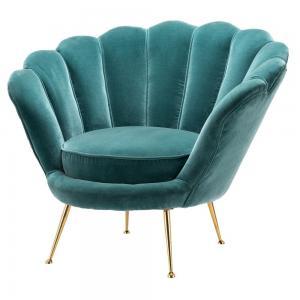 China Modern Living Room Fabric Sofas Golden Stainless Steel Base Shell Back Velvet on sale