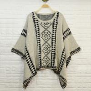 Quality Aztec pattern jacquard women knit poncho shawl , ladies wool ponchos wholesale