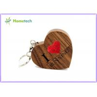 Quality Love Heart Wooden USB Flash Drive 4GB 8GB 16GB 32GB 64GB Maple / Walnut Material wholesale