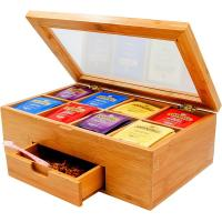 China bamboo tea box tea bag organizer with drawer for hot selling on sale