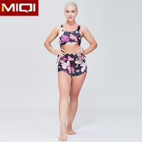 China Women Fashion Design Polyester Comprehension Shorts Women Yoga Bra Fitness Sports Suit on sale
