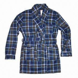 Quality Men's Fleece Robes, Classical Plaid Printed Design wholesale
