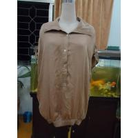 Quality 100% Viscose Womens Fashion Tops Bow Back Waist Button Up Shirts  Tops Elastic Cuff wholesale