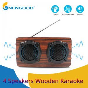 China 2019 year 4 speakers 2 diaphragms hifi portable wooden bluetooth speaker FM radio Wireless microphone megaphone on sale