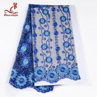 Quality African Cord Blue Embroidered Floral Lace Fabric 127 CM Polyester wholesale