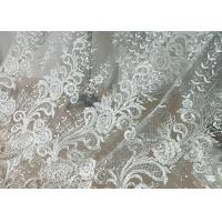China Embroidered Floral Sequin Tulle Lace Fabric For Bridal Couture Polyester Nylon Material on sale