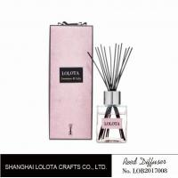 Quality silver cap square bottle reed diffuser with ribbon pink folding box wholesale