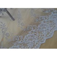 Quality Floral Embroidery Corded Lace Fabric , Bridal Sequin Mesh Fabric With Scalloped Edge wholesale