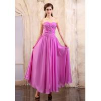 Quality Formal Ruffle Chiffon Long Evening Prom Dresses With Beading , Strapless Sweetheart Design wholesale