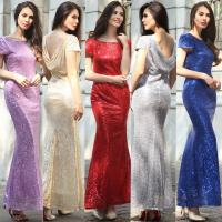 Quality hot sale polyester short sleeve long women Bodycon evening beaded dress with gold sequin in red blue purple gray beige wholesale