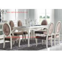 Quality Ivory Neoclassical Dining Room Furniture collection by rubber wood with Glass or Marble table top wholesale