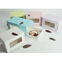 Custom Bakery Swiss Roll Paper Cake Boxes , Transparent Food Packing Boxes
