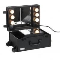 Quality Leather material Make up train case rolling makeup case with lights and trolley wholesale