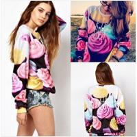 Quality Women The Cake Pullovers Funny 3D Sweatshirts Food Print Plus Size Galaxy Sweaters Hoodies wholesale