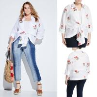 Quality Embroidered Tie-Front Plus Size Korean Fashion Design Linen Women Blouse Ladies wholesale