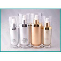 Quality 70 ML 130 ML Oval Shape Cosmetic Serum Bottle ,Silver / Gold Airless Cosmetic Bottles wholesale