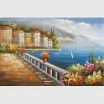 Quality European Mediterranean Oil Painting , Handmade Canvas Flower Garden Oil Painting wholesale