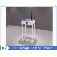 Quality Simple White Wood Metal Square Custom Glass Display Cases / Store Display Showcase wholesale