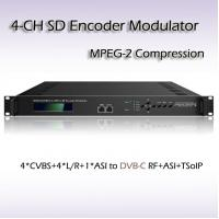 China Hotel TV 4*CVBS to DVB-C(QAM) Four-Channel MPEG-2 SD Vidoe Encoder Modulator SD Video to DVB-RF Cable TV Equipment on sale
