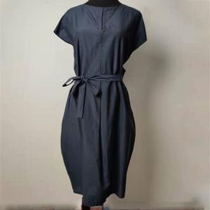 Elegant Loose Fit Navy Blue Knee Length Dress Anti Wrinkle With Shell Belt