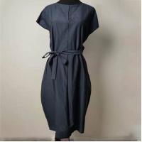 Cheap Elegant Loose Fit Navy Blue Knee Length Dress Anti Wrinkle With Shell Belt for sale