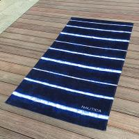 Quality Soft Promotional Mens Beach Towel / Striped Beach Towels Blue And White wholesale