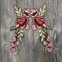 Quality Colourful Floral Embroidered Applique Patches , Polyester Sew On Flower Appliques wholesale