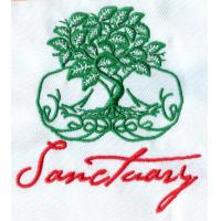 Quality 2.75 inch w and three colors embroidery digitizing logo on twill for garments, hats, bags wholesale