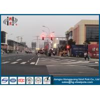 China Led Lights Traffic Light Pole Traffic Signal Pole With Flange Connection on sale