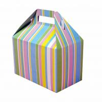 Beautiful Foldable Cake Packaging Box Silver Art / Kraft Paper With Handle