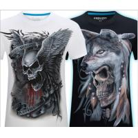 China Summer Men's 3D Personality T-shirt Short Sleeve Stereo Wolf Head Pattern Big Size Gain/ Garment on sale