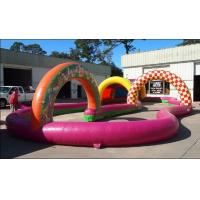 China Racetrack Inflatable Sports Games Amusement 0.6mm With Zorb Ball Inside on sale