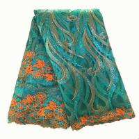 Quality 2015 Hot selling cheap embroidered tulle fabric french net sequins lace for party dress wholesale