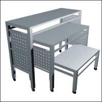 China Iron Frame Wooden Store Display Table , Freestanding  Metal Shop Display Tables on sale