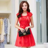 Quality Red Classic Womens Suit Dress formal wedding gowns with flowers wholesale