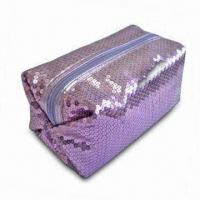 China Sequin Fabric Cosmetic Bag with PU Trimming on Closure, Customized Designs are Welcome on sale