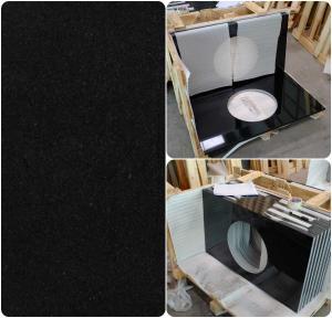 Quality Black Natural Granite Countertops , High Density Solid Black Granite Countertops wholesale