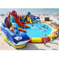 China Huge Shark Inflatable Water Parks With Slide For Rent / Blow Up Water Playground on sale