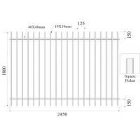 Quality H1800mmxW2450m Square Picket 19mmx19mm Rail 40mmx40mm Stain black Powder Diplomat Fencing Panels wholesale