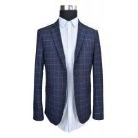 China Business Tailored Mens Fashion Blazer Jacket Slim Fit Thin Fabric Navy Check Half Lining on sale
