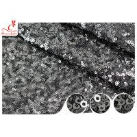 Quality Shiny Embroidered Black Sequin Mesh Fabric For Party Evening Dress R&D Available wholesale