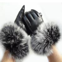 Quality Touch Screen Sheep Womens Soft Leather Gloves With Fluffy Fox Fur Trim Cuff wholesale