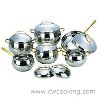 Quality 12pcs stainless steel apple shape cookware set with high dome metal lid, wholesale