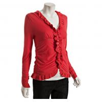 Quality Red Ruched Ruffle V Neck Womens Knitted Sweaters For Girls , Young Ladies wholesale
