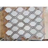 Quality White marble hexagon mosic tile 10mm Thickness For Bathroom / Kitchen wholesale